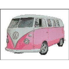 "Volkswagen Camper Van Pink Cross Stitch Kit 10"" x 7.5"" Split Screen Splitty - kombi"