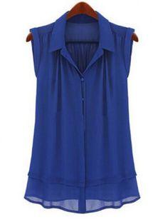 Stylish Shirt Collar Sleeveless Solid Color Loose-Fitting Women's Shirt