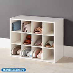 Our stackable 12-Pair Shoe Organizer is constructed from sturdy particleboard with a durable white paper laminate. Store shoes like loafers and low-heeled sandals in pairs in the individual compartments. Larger men's or athletic shoes are best stored with one shoe per opening. The organizer is also great for smaller purses and evening bags. Store Shoes, Entryway Organization, Shoe Organizer, Container Store, Shoe Storage, Heeled Sandals, White Paper, Evening Bags, Shoe Rack