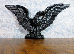Black Cast Iron Eagle 1960s1970s Wall Hanging by FiligreeAndTheSea, $45.00