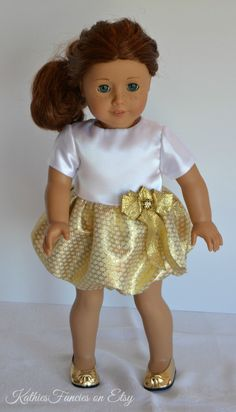 Gold Bubble Party Dress for American Girl Doll by KathiesFancies, $35.00