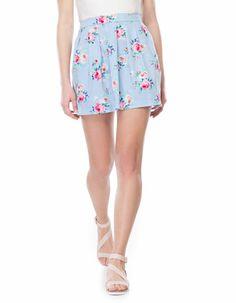 A line floral print skirt
