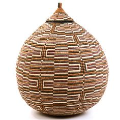 "Ukhamba  19"" Tall woven basket. Palm. Check out the crazy pattern."