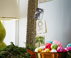 Deck the Hallway! | One Kings Lane, bowl of ornaments in front of mirror