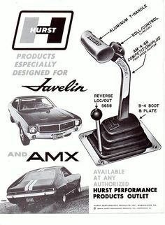 1968 Hurst Performance advertisement featuring the AMC Javelin and AMX