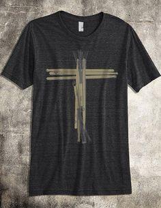 Drum Stick Cross Worship Band TShirt - A Soft Poly/Cotton Men's Unisex Christian Shirt on Etsy, $15.00