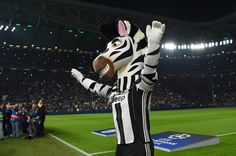 The Juventus mascot warms up the crowd ahead of the UEFA Champions League Quarter Final first leg match between Juventus and FC Barcelona at Juventus Stadium on April 11, 2017 in Turin, Italy.