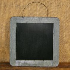 Square Gray Zinc Metal Chalkboard with Wire for Hanging, 14.5 x 14.5in
