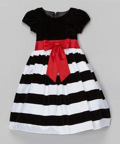 Another great find on #zulily! Black Stripe Taffeta Short-Sleeve Dress - Infant, Toddler & Girls #zulilyfinds