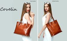 "* Covelin Women's Handbag Genuine Leather Large Size: Cross: 15.2"" x 10.8"" x 5.3"" (Length x Height x Depth)/Vertical: 11.8"" x 13.4"" x 5.3"" (L x H x D).Tote Shoulder Bags Soft Hot Army Green: Handbags: Amazon.com"