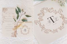 Classic gold Italian inspired invite suite for a vineyard wedding. Printed on luxurious quartz coloured shimmer paper.