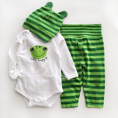Baby girl / boy frog design striped cotton long-sleeve jumpsuit infant romper + long trousers + hat new born baby clothes from My Trendy baby Boutique. Baby Born Clothes, Disney Baby Clothes, Cute Baby Clothes, Baby Outfits, Kids Outfits, Frog Nursery, Best Baby Shoes, Baby Announcement Pictures, Baby Tumblr