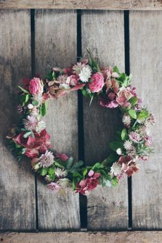 wreath - pinks and green