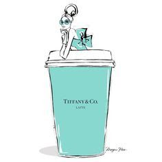 Monday Coffee in Tiffany Blue! By Megan Hess.You can find Tiffany blue and more on our website.Monday Coffee in Tiffany Blue! By Megan Hess. Megan Hess Illustration, Illustration Mode, Coffee Illustration, Watercolor Illustration, Poster Café, Mode Poster, Tiffany E Co, Azul Tiffany, Tiffany Jewelry