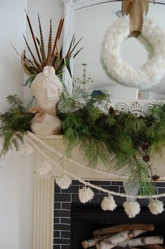 Two EASY and free ways to decorate: cut greenery from a park and put it in containers you already own & use your own winter scarves and wrap them around items in your home that are already on display. The Nester