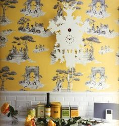 "Sheila Bridges Harlem Toile de Jouy Wallpaper. ""The American interior designer Sheila Bridges has updated the Toile de Jouy by replacing the quaint rural scenes with those of everyday New York life. Characters dancing, playing basketball and carrying boomboxes make up this vibrant print which come in modern shades of yellow, robin's egg, pistachio and cherry."""