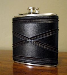 Tooled Leather & Stainless Steel Flask.