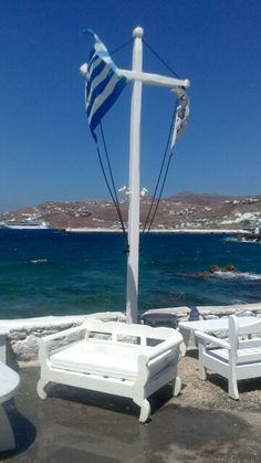 the Cross, the flag, the sea and the sun! Corfu, Crete, Santorini Villas, Myconos, Macedonia Greece, Greek Flag, Top Destinations, Greek Islands, Archaeology