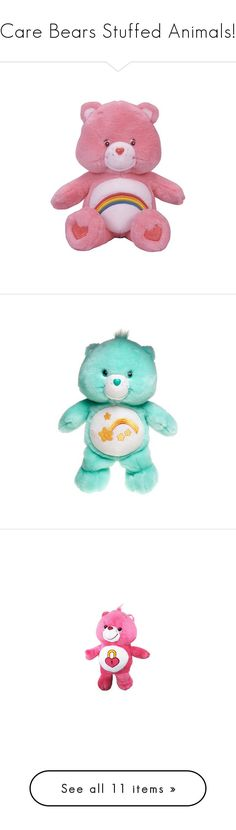 """""""Care Bears Stuffed Animals!"""" by littlekuriboh ❤ liked on Polyvore featuring carebears, stuffanimals, fillers, toys, pink, plushies, stuffed animals, backgrounds, care bears and filler"""