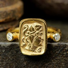 Handcrafted Artisan Hammered 24K Yellow Gold over 925 Solid Sterling Silver, Ancient Roman, Byzantium, Greek Art Designer Coin Ring by Caprixus on Etsy https://www.etsy.com/listing/519639571/handcrafted-artisan-hammered-24k-yellow