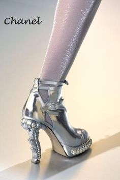 silver shoes, love the heel!