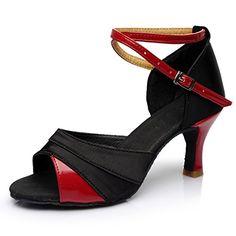 Popular Womens Girls LatinBallroomSalsa Dance Shoes Sandals High Heel SatinLeatherette Buckle GoldSilverRed 75 US24CMCN38 Black Red 7cm heel *** You can get additional details at the image link.
