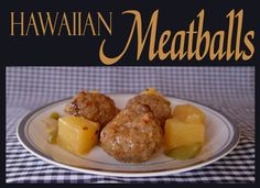 Hawaiian Meatballs: 2 green peppers 1 1/2 onion 1  20 oz can pineapple chunks 1/2 C white sugar 1 T apple cider vinegar 1/2 T salt black pepper, just a couple of sprinkles 1 T soy sauce 1/4 C brown sugar 3 T cornstarch 1/2 C cold water 3 pounds fully cooked meatballs