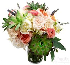 Garden roses and peonies in pinks, creams and peach, succulents and lavender make this bridal bouquet extra yummy! Flowers by April's Garden in Durango,CO http://www.durangoflorist.com/