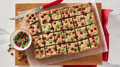 Sugar Cookie M & M Bar.This bar is perfect to round out your cookie exchange -- colorful holiday chocolate candies, white vanilla baking chips and sugar cookie mix makes this a snap to make and bake. Mélanges Pour Cookies, Cookies Et Biscuits, Sugar Cookie Bars, Sugar Cookies, Cookie Tin, Cookie Cups, Shortbread Cookies, Cookie Dough, Holiday Baking