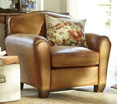 Benton Leather Club Armchair #potterybarn