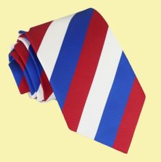 White Red Blue Stripes Formal Boys Ages 7-13 Wedding Straight Boys Neck Tie