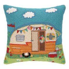 Peking Handicraft Going Places Trailer Hook Wool Throw Pillow