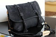 """Купить Сумка """"Bohemian style"""", черная замша, кисти, шелковый шнур - черный, однотонный"""