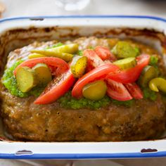 Get Molly's Chicago Dog Meatloaf with Mustard Glaze Recipe from Food Network Meatloaf Recipes, Beef Recipes, Cooking Recipes, Easy Recipes, Pickled Pepperoncini, Sweet Pickles, Glaze Recipe, Budget Meals