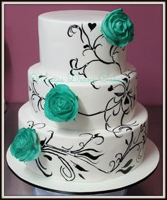 3 tier wedding cake with teal roses and black handpainting   Flickr - Photo Sharing!