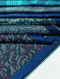 "Hermès Spring-Summer 2014. Scarves ""Mémoire vive"" in cotton and silk, scarves ""3D Optic"" in cotton and silk."