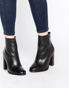 KG Kurt Geiger | KG By Kurt Geiger Sunset Leather Stacked Heel Ankle Boots at ASOS