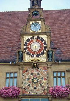 Rathaus Clock (astronomical clock on Town Hall), #Heilbronn, Baden-Württemberg - Germany