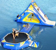 Awesome inflatable water toy. Features a climbing wall, slide, bridge, and a trampoline!! So awesome.