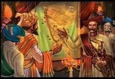 Great king Shivaji discussing strategy with his Military commander Ancient Indian History, History Of India, Shivaji Maharaj Painting, King Of India, Freedom Fighters Of India, Shivaji Maharaj Hd Wallpaper, Shiva Photos, Warriors Wallpaper, Hd Wallpapers 1080p