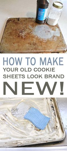 Ideas About DIY Life Hacks & Crafts 2017 / 2018 How to Make Your Old Cookie Sheets Look Brand New! Grab a bottle of hydrogen pyroxide, a box of baking soda, and that dirty cookie sheet. -Read More – Deep Cleaning Tips, Household Cleaning Tips, Toilet Cleaning, House Cleaning Tips, Diy Cleaning Products, Spring Cleaning, Cleaning Hacks, Cleaning Solutions, Homemade Products