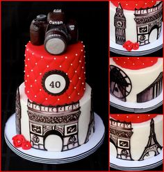 World traveler cake with hand painted monuments- Eiffel Tower, Arc de Triomphe, Big Ben, Windmills at Mynkinos and Acropolis. Edible Canon camera