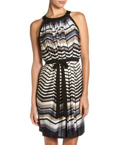 Chevron-Stripe Halter Dress by Taylor at Last Call by Neiman Marcus.