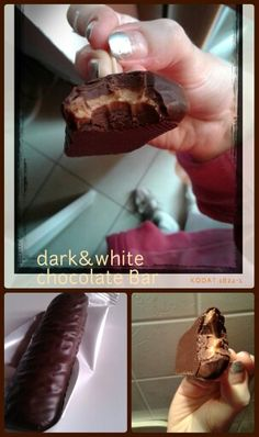 Collage #collage DARK (milk chocolate) & WHITE - CHOCOLATE bar. #break#protein#pf #egg i; 120k.x32gr (1). 15carb/9sugar.6protein.2/2fat.2fiber. Ok? Try these is a super energy bar (albume d'uovo x bianco, no animal fat<substitute)…