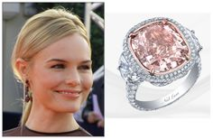 I love pink and canary diamonds! Celebrity Rings, Celebrity Engagement Rings, Celebrity Jewelry, Pink Diamond Engagement Ring, Pink Diamond Ring, Bling Wedding, Dream Wedding, Kate Bosworth, Colored Diamonds