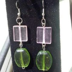 Pink and Green Glass bead Earrings Handmade by me with awesome construction. Glass beads, fun colours! I have great bundle deals when you bundle any of my handmade jewelry!  Feel free to comment, like, share, bundle, and / or negotiate! ?? ?? Jewelry Earrings