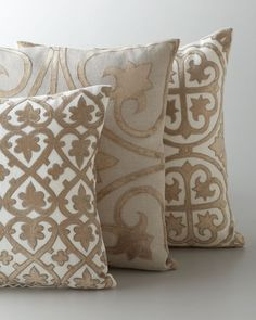 Details * Handcrafted pillow. * Central diamond-shaped medallion and scroll-and-flourish corners. * Linen ground with cotton velvet applique and viscose embroidery detail. * Dry clean. * Imported.