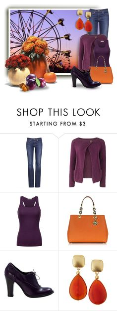 """""""Plum and Pumpkin"""" by vingananee ❤ liked on Polyvore featuring Tory Burch, People Tree, Michael Kors and Kenneth Jay Lane"""