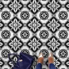 Our Basilica Cement Tile stencil is a traditional cement tile design that looks simply stunning in black and white! Our Tile stencils are a perfect money saving alternative to the popular but expensive cement tiles. Painting Tile Floors, Painted Floors, Stencil Painting, Faux Painting, Stenciling, Stencil Patterns, Stencil Designs, Wall Patterns, Large Stencils