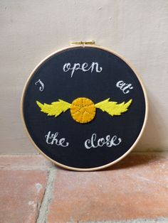 Harry Potter Embroidery Hoop Art - Golden Snitch - I Open At The Close - Felt